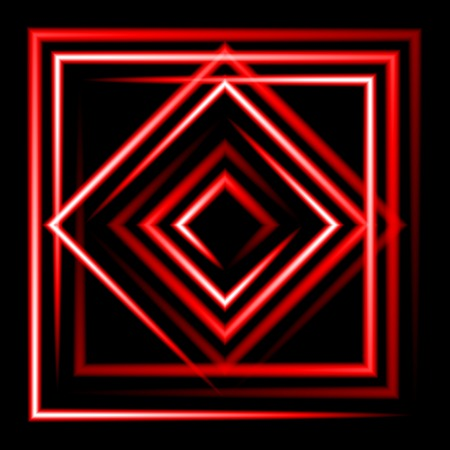 Red neon square vector background. abstract. Vector.  Vector