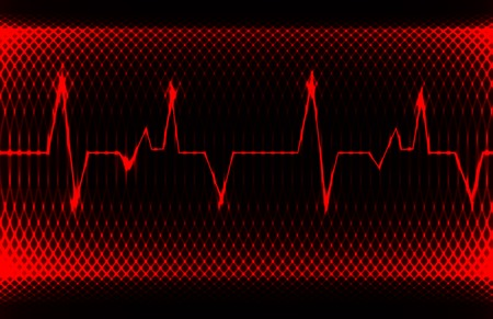 contraction: Colorful human heart normal sinus rhythm, electrocardiogram record. Bright and bold design.