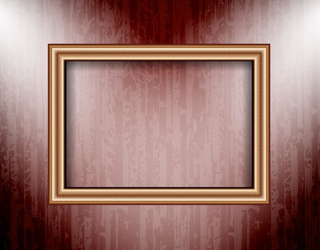 Blank frame on a colored wall lighting spotlights. Vector