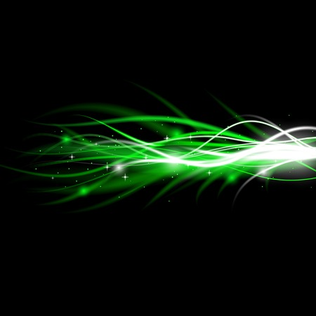 Blurry abstract green light effect sparkle background. Vector