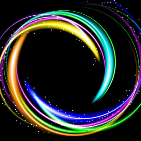 illustration of colorful abstract background with blurred magic neon light curved lines. Vector