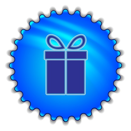 Gift icon blue   illustration illustration