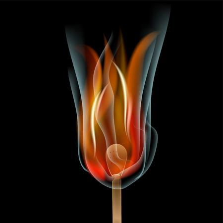 Burning match on black background photo