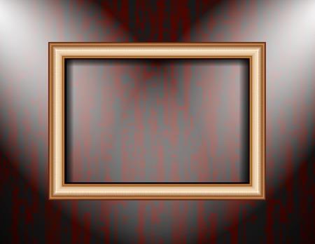 Blank frame on a colored wall lighting spotlights. . photo