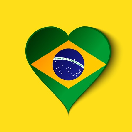 Heart icon with Brazilian Flag.  Vector