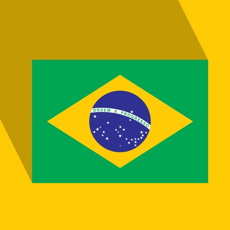 Flat Icon with Brazilian Flag. Vector