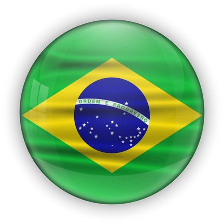 Brazil Flag Glossy Button.  photo