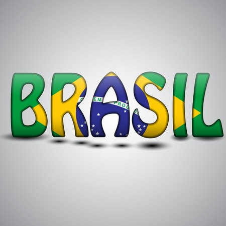 Brazil Letters with Brazilian Flag.  photo