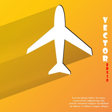 Plane . Flat modern web button with long shadow and space for your text.  Vector
