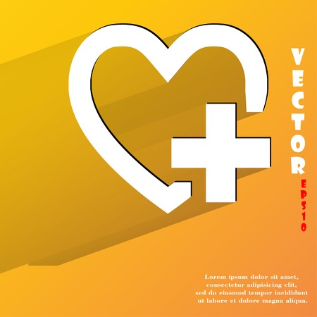 Heart. Flat modern web button with long shadow and space for your text. Vector