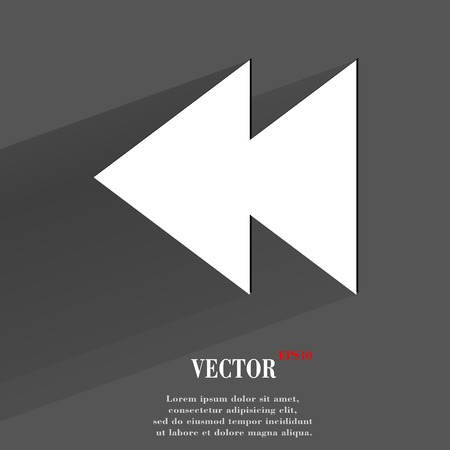 multimedia control. Flat modern web button with long shadow and space for your text.  Vector