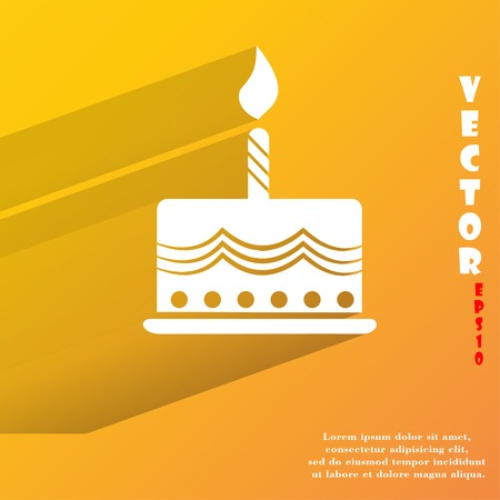 cake. Flat modern web button with long shadow and space for your text. Vector