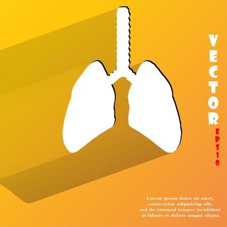 poumon humain: Poumon humain. Appartement bouton web moderne avec de longues ombres et de l'espace pour votre texte.