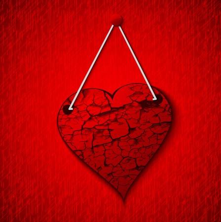 abstract Dark grunge  heart. Vintage background.  Vector