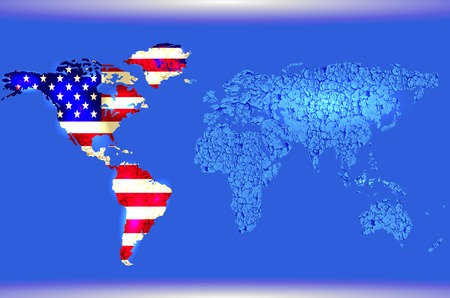 Blue Illustrated world map. Abstract texture lines. American flag. Vector
