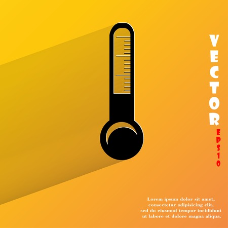 Thermometer. Flat modern web button with long shadow and space for your text.  Vector