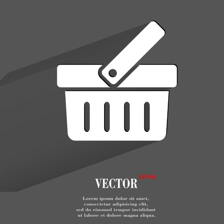 basket icon: Shopping basket. Flat modern web button with long shadow and space for your text. Illustration