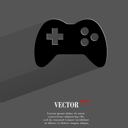 Gaming Joystick. Flat modern web button with long shadow and space for your text.  Vector