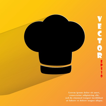 cook out: Chef cap. Cooking. Flat modern web button with long shadow and space for your text.