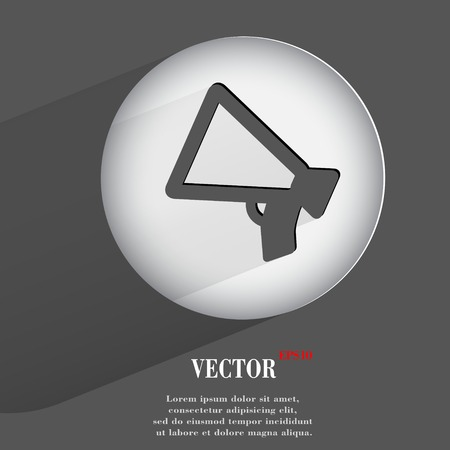 mouthpiece: mouthpiece. Flat modern web button with long shadow and space for your text.  Illustration