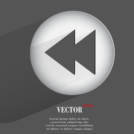 player controls: controles del reproductor. Bot�n plano web moderno con una larga sombra y el espacio para el texto.