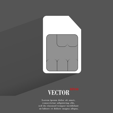 SIM card. Flat modern web button with long shadow and space for your text. Illustration