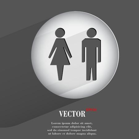 hommes et femmes: les hommes, les femmes. Appartement bouton web moderne avec de longues ombres et de l'espace pour votre texte. Illustration