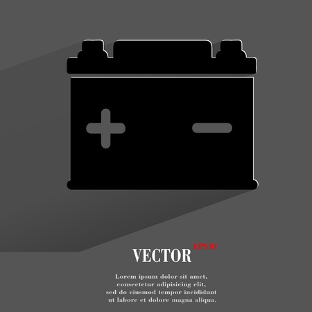 Car battery. Flat modern web button with long shadow and space for your text. Vector