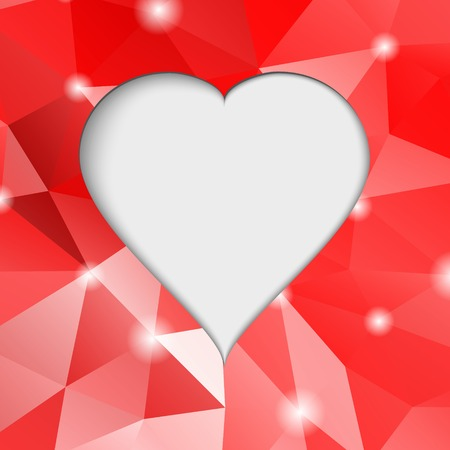 Valentines day.  Modern abstract background illustration with red hearts.  Vector