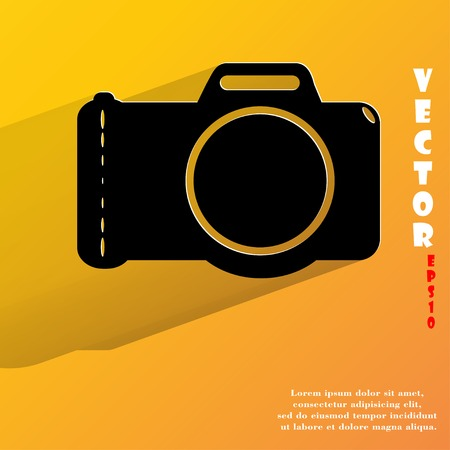 Photo camera .Flat modern web button with long shadow and space for your text. Vector