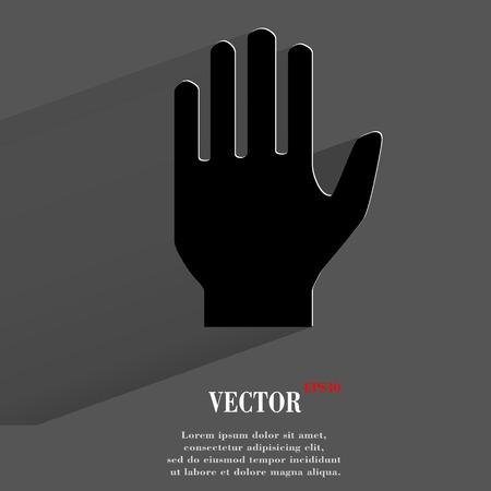 area restringida: Detener. mano. Bot�n plano web moderno con una larga sombra y el espacio para el texto.
