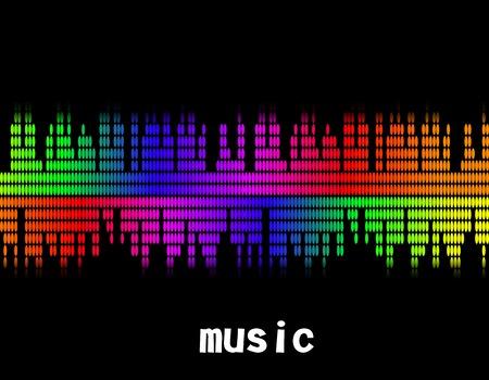 illustration  of music colorful equaliser bar in black background.