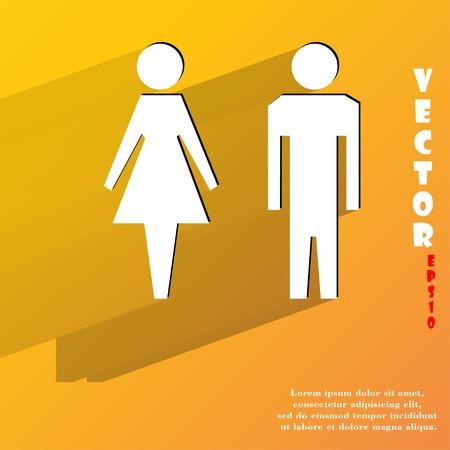 hommes et femmes: les hommes, les femmes suluet. Appartement bouton web moderne avec de longues ombres et de l'espace pour votre texte. Illustration