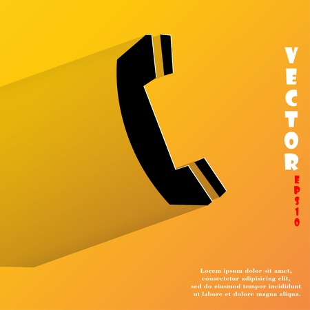 phone. Flat modern web button with long shadow and space for your text.  Vector
