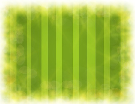 Abstract green blurry background with overlying semi transparent circles, light effects and sun burst.  Vector