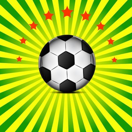 Illustration football card in Brazil flag colors. Soccer ball.  Vector