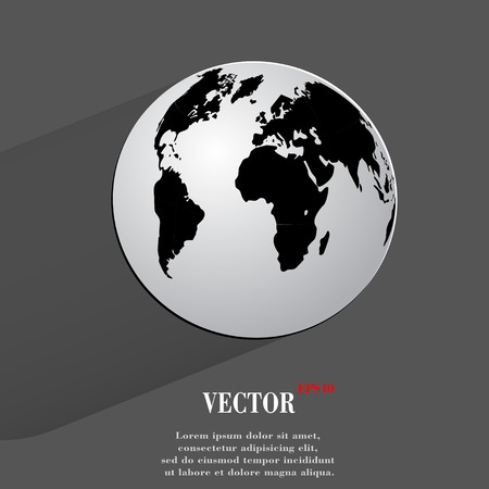 World map web icon, flat design.  Vector