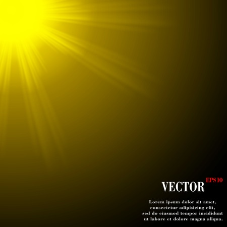 Abstract blurry background with overlying semi transparent circles, light effects and sun burst.  Vector