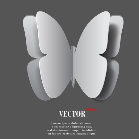 butterfly. Flat modern web button with long shadow and space for your text. Vector