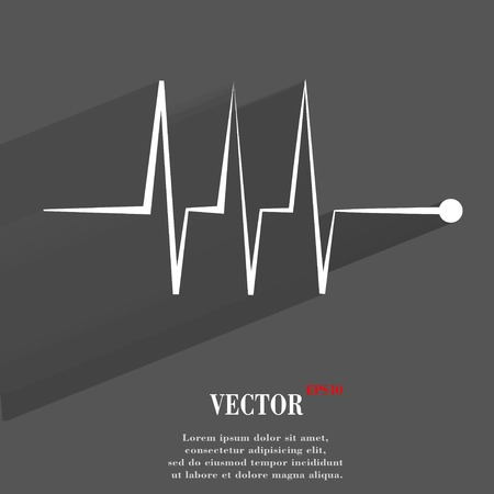 heart rhythm. Flat modern web button with long shadow and space for your text. Vector