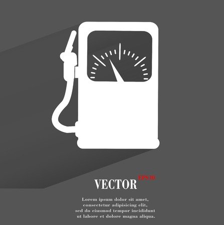 Gas, fuel station. Flat modern web button with long shadow and space for your text.  Vector