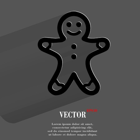 gingerbreadman: Gingerbread. Flat modern web button with long shadow and space for your text.  Illustration