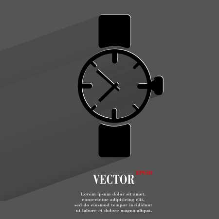 Watch,clock. Flat modern web button with long shadow and space for your text. Vector