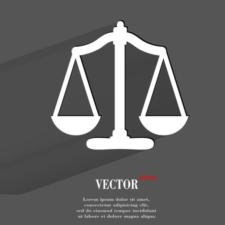Scales balance. Flat modern web button with long shadow and space for your text. Vector
