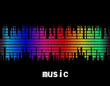illustration  of music colorful equaliser bar in black background.  Vector