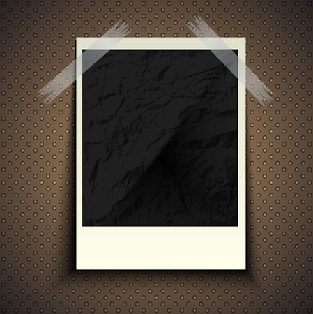 Vintage retro photo hanging on a stone wall with space for your text. Vector