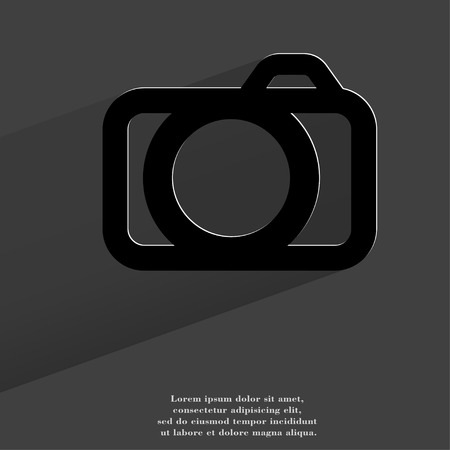 Camera. Flat modern web button with long shadow and space for your text. . photo