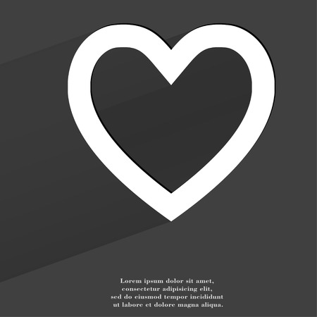 Heart. Flat modern web button with long shadow and space for your text. . photo