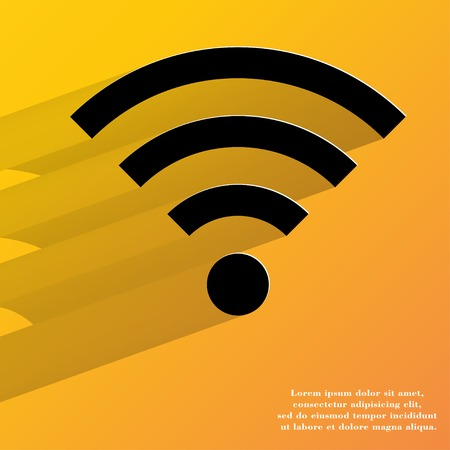 WI-FI. Flat modern web button with long shadow and space for your text. . photo