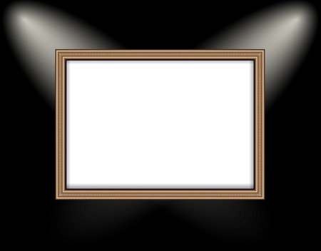 Blank frame on a colored wall lighting spotlights. . photo